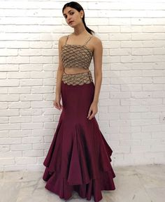 Two Piece Long Prom Dress , Charming Prom Dress Indian Outfits Modern, Indian Fashion Dresses, Indian Gowns Dresses, Dress Indian Style, Indian Designer Outfits, Designer Dresses, Indian Wear, Party Wear Dresses, Dress Outfits
