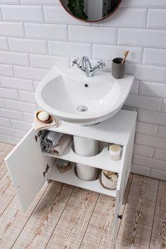Details about Bathroom Sink Cabinet Undersink in White Stow Waschbeckenschrank Undersink in White Stow Small Bathroom Sinks, Bathroom Sink Cabinets, Small Bathroom Storage, Diy Cabinets, Bathroom Flooring, Bathroom Furniture, Bathroom Interior, Modern Bathroom, Rustic Furniture