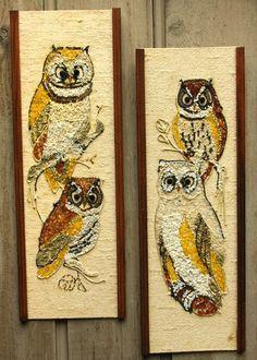 "Vtg 24"" Owl Gravel Mosaic Picture Large Wall Panel Set Plaque Pebble Stone Glass"