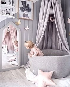 A cute little girl's playroom by Andrea Lingjerde, Miffy lamp available at www.i A cute little girl's playroom by Andrea Lingjerde, Miffy lamp available at www. Baby Bedroom, Nursery Room, Girl Nursery, Girls Bedroom, Nursery Decor, Nursery Ideas, Baby Rooms, Nursery Themes, Nursery Grey
