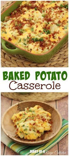 Baked Potato Casserole A perfect side dish to accompany any family gathering meal for the holidays or even a BBQ. This is a super easy side dish. I love making it for just about anything. It's all the flavors of a bake. Potato Dishes, Potato Recipes, Vegetable Recipes, Food Dishes, Baked Potato Casserole, Casserole Recipes, Baked Potatoes, I Love Food, Good Food
