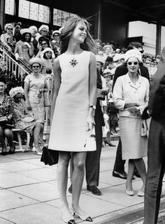 """English model Jean Shrimpton unknowingly causes an international incident at the Victoria Derby, Melbourne, Australia, 1967, photographer unknown. Flown in by the Victorian Racing Club and a local synthetic fibre company promoting their range of Orlon dresses (and netting £2000), Shrimpton wore a minidress, eschewing the traditional conservative hosiery, gloves, and millinery, and made international headlines. Forty years later she remarked, """"I much prefer architecture to fashion."""""""