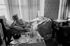 Single man living in one room of multi let house, Moss Side Manchester 1969