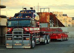 Bill ✔️ A Kenworth K100E  CAT 495 powered unit of STL Linehaul, New Zealand. Cab-over with conventional three axles and a flat deck four axle semi trailer.     Bill Gibson-Patmore.  (curation & caption: @BillGP). Bill✔️