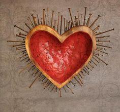 By Anastasia Osolin. Spiritus, Heart Crafts, Religious Icons, Assemblage Art, Mexican Folk Art, Sacred Heart, Heart Art, Rock Art, Altered Art