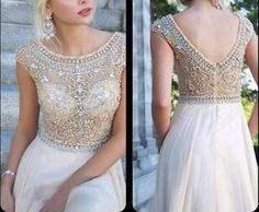 A-line Beaded Round-neckline Floor-length Halter Prom Dresses, Bridesmaid Dress,Graduation Dress, Formal Dresses