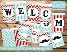 Personalized Little Man or Little Mister Mustache Bow Tie Baby Shower Banner