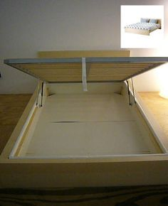 The Ikea MALM bed frame ($149.00) appeals with its clean, modern lines; add hinges to carve out an internal storage cavity.