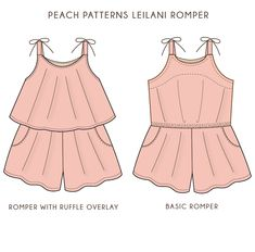 Leilani Romper Playsuit for Girls PDF Sewing Pattern: Sizes 12 Months – Peach Patterns