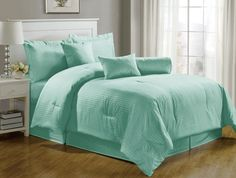 Chezmoi Collection 7pcs Hotel Damask Dobby Stripe Comforter Set Queen Turquoise | eBay