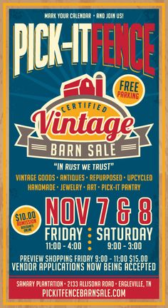Dorothy Art is excited to have an art booth selling her artwork on November & in Eagleville Tennessee at the Pick It Fence Barn Sale! Come out, Nashvillians! Antique Show, Antique Stores, Antique Fairs, Vintage Market, Vintage Shops, Autumn Display, Fall Displays, Harvest Farm, Big Red Barn