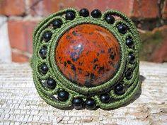 Ian Lander Jewelery : Macrame : Bracelets : Mahogany Obsidian