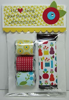 """Cardstock:  Whisper White, Daffodil Delight, Real Red, Tempting Turquoise, Old Olive, Summer Smooches Designer Series Paper    Stamp Set:  Workshop Words    Accessories:  Medium Cello Bags, Scallop Border Punch, 1"""" Circle Punch, 1/2"""" Circle Punch, 5-Flower Punch, Owl Punch (for the little heart), Rhinestone Jewels"""
