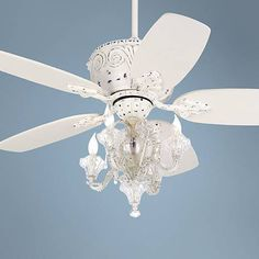 This ceiling fan pairs white finish blades with an antique rubbed white finish motor, a chandelier style light, and a convenient remote control. Five white finish blades. Style # at Lamps Plus. Girls Bedroom Chandelier, Ceiling Fan Chandelier, White Ceiling Fan, 52 Ceiling Fan, Ceiling Fan With Remote, Chandeliers, House Ceiling, Hampton Bay Ceiling Fan, Porch Wood