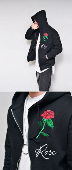 Tops :: Rose Embroidery Loose Fleece Zipup-Hoodie 217 - GUYLOOK Men's Trendy Fashion Clothing Online