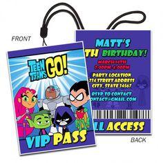 Teen Titans, Digital Invitation, VIP PASS Invitaiton | partytimedecor - on ArtFire