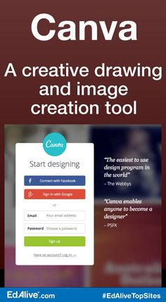 Canva | A creative drawing and image creation tool | Create dynamic flyers, presentations, banners, infographics, graphics for social media, and other designs incorporating vibrant stock backgrounds, photos, graphics, and fonts, as well as images you upload. #Tools #EdAliveTopSites