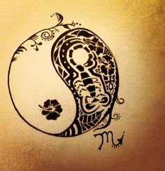 This is beautiful! Inspiration for my tattoo finally. Maybe make it look a tiny bit more like a koi. I would love it too look like multiple things. The center design almost looks like a baby Time Tattoos, New Tattoos, Body Art Tattoos, Cool Tattoos, Tatoos, Wrist Tattoos, Scorpio Zodiac Tattoos, Aquarius Tattoo, Yin Yang Tattoos