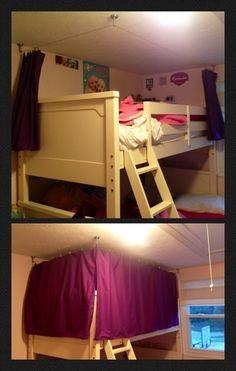Bunk bed curtains - crafty sewing and an Ikea gadget.