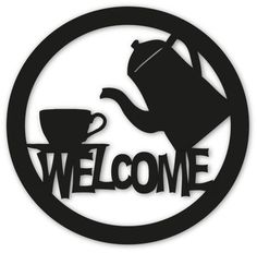 Coffee Tea Welcome Sign / Wall Art / Home Decor / Outdoor Wall. $34.99, via Etsy.