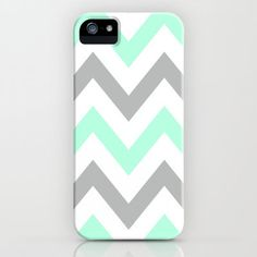 MINT & GRAY CHEVRON iPhone Case by nataliesales | Society6