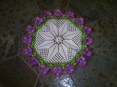 Colorful flower doily with diagram