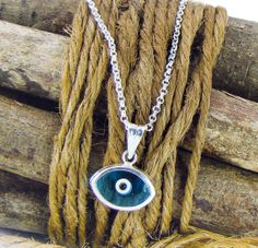 Blue Evil Eye Sterling Silver Pendant by sunnybeadsbythesea, $27.00
