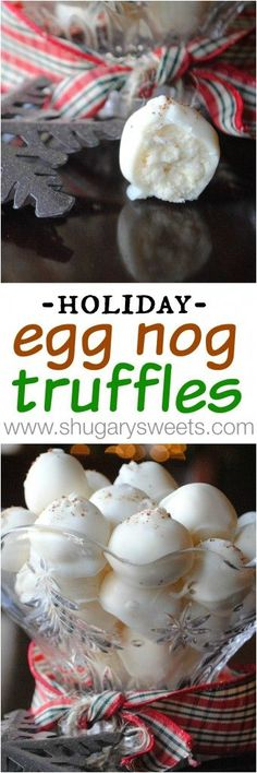 Truffles Eggnog Truffles, smooth eggnog and white chocolate centers, would be perfect as a Christmas/hostess gift!Eggnog Truffles, smooth eggnog and white chocolate centers, would be perfect as a Christmas/hostess gift! Christmas Sweets, Christmas Cooking, Christmas Candy, Christmas Truffles, Xmas Food, Christmas Goodies, Christmas Crafts, Holiday Treats, Holiday Recipes