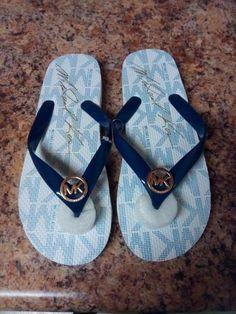 4bca62c313c024 Michael Kors White Flip Flops 8  fashion  clothing  shoes  accessories   womensshoes