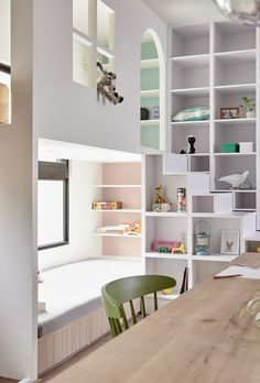 The Family Playground by HAO Design - coin enfants avec cabane et coin lecture Cute Furniture, Furniture Design, Design Studio, House Design, Urban Apartment, Bookshelf Plans, Kids Room Design, Big Girl Rooms, Small Living