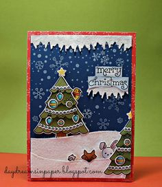 Lawn Fawn - Trim the Tree + coordinating dies, Joy to the Woods + coordinating dies, Snow Day + coordinating dies, Frosties, Snow Day paper, Stitched Hillside Borders _ beautiful Peek A Boo Christmas scene by Catherine via Flickr - Photo Sharing!