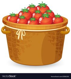 A basket of red tomato Royalty Free Vector Image Tomato Drawing, Vegetable Crafts, Health And Fitness Magazine, Red Tomato, Down On The Farm, Diy Origami, Food Drawing, Play Food, Aesthetic Stickers