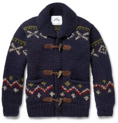 Chunky toggle wool sweater from Ovadia & Sons, at Mr. It's got the toggles, the wintery design, the shawl collar, and everything. Ugly Sweater, Cozy Sweaters, Ugly Christmas Sweater, Men Sweater, Wool Cardigan, Knitting Designs, Clothing Items, Dress To Impress, Knitwear
