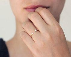 Gold Horseshoe Ring Gold Diamond Ring Lucky Ring 14k by artemer