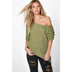 Boohoo Grace Asymmetric Hem Slash Neck Jumper ($26) ❤ liked on Polyvore featuring tops, sweaters, olive, turtle neck sweater, polo neck sweater, marled sweater, going out tops and chunky sweater