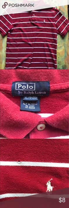 Ralph Lauren Polo - Youth XL Red and white striped polo. Youth XL. One tiny hole by Polo symbol - in pictures. Polo by Ralph Lauren Shirts & Tops Polos