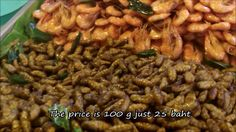 Edible fried crickets  at Thai fresh market : จิ้งหรีดทอดแสนอร่อยมันมันก...