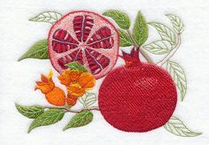 Pomegranate Botanical embroidered