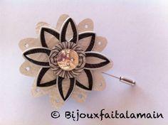 Broche fleur avec capsules Nespresso et cuir