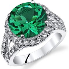 Amazon.com: 6.00 Carats Simulated Emerald Engagement Ring Sterling... ($60) ❤ liked on Polyvore