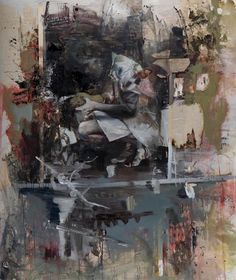 """Through a Glass Darkly"" curated by Jane Neal featuring Tim Braden, Ciprian Muresan, Daniel Pitin and Hugo Wilson - Nicodim Gallery: Daniel Pitin - ""Hand"", 2011, mixed media on canvas, 67 X 56 in"