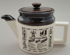Beauce CB Canada Single Teapot Advertising Art Pottery Repro Crock Dr Bucklands