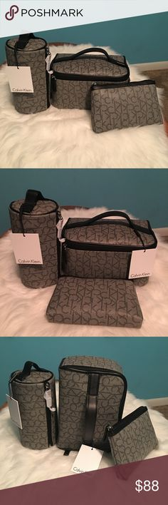 Calvin Klein Logo 3pc Cosmetic/Travel Bag Set NWT Brand New With Tags 3 Pc Calvin Klein Signature Cosmetic/ Travel Bag Set Calvin Klein Bags Cosmetic Bags & Cases