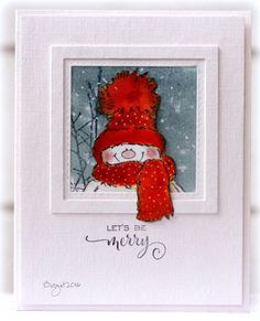 Here´s my card for two challenges! CAS(E) this Sketch and CAS Colours & Sketches Sketch - Challenge - March 2016 I used these stamps from Penny Black SnowyInto the SkySeaso (ideas for art frames) Christmas Cards 2018, Stamped Christmas Cards, Christmas Paper Crafts, Homemade Christmas Cards, Xmas Cards, Christmas Art, Handmade Christmas, Homemade Cards, Step Card