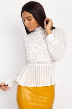 """Bring a pop of sweet style to your wardrobe with this long sleeve peplum top."" #longsleevepeplumtop #lacelongsleevetop Long Sleeve Peplum Top, White Long Sleeve, Long Sleeve Shirts, Panel Dress, Embroidered Blouse, Stripes Design, Fashion Boutique, Sexy, Lace Skirt"