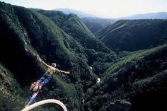 Bungee Jumping Garden Route - The view from Bloukrans Bridge, captures all the majesty and tranquillity of the Bloukrans River valley below. Bloukrans Bridge is Africa's highest bridge and home to the World's Highest Bungy Jump from a Bridge. Visit South Africa, Cape Town South Africa, Bungee Jumping, What A Wonderful World, Adventure Is Out There, Wonders Of The World, Adventure Travel, Adventure Time, Kayaking