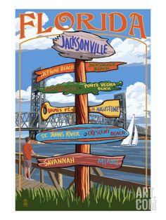 Jacksonville, Florida - Sign Destinations Print by Lantern Press at Art.com