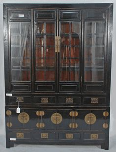 Antique Asian Furniture: Antique Chinese Black Lacquered Bookcase or China Cabinet from Shanxi Province, China Japanese Furniture, Asian Furniture, Chinese Furniture, Antique Furniture, Chinese Cabinet, Asian Design, Living Room Inspiration, Locker Storage, Home Goods