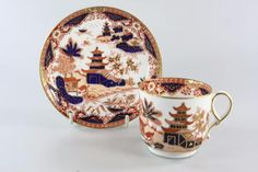 Royal Worcester bone china cup and saucer, gold gilded on trim and Imari style Asian pattern