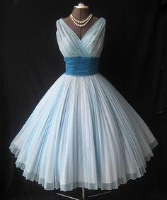 Vintage Knee Length A-line V-neckline Light Blue Bridesmaid Dress